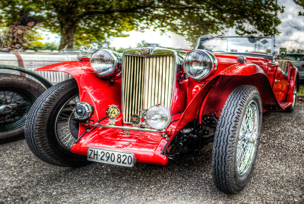 Vintage red MG cabriolet at the exhibition in Dielsdorf