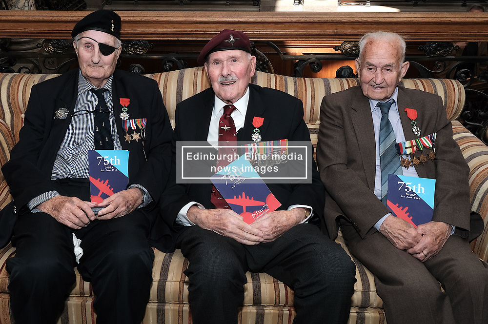 D-Day 75th anniversary, Edinburgh, Friday 6th June 2019<br /> <br /> A service to commemorate the 75th anniversary of the D-Day<br /> landings was organised by Armed Forces charity Legion<br /> Scotland and The French Consulate General.<br /> <br /> It was attended by 15 D-Day veterans, 4 of whom received the Knight of the Légion d'Honneur Cross, serving personnel, various dignitaries and Graeme Dey, the Scottish Government's Minister for Parliamentary Business and<br /> Veterans.<br /> <br /> Pictured:  David Livingston (97, Royal Navy, right), Eric Tandy (95, 7th Para, centre) and Leonard Humphries (94, Signals, left)<br /> <br /> Alex Todd   Edinburgh Elite media