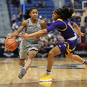 HARTFORD, CONNECTICUT- JANUARY 4: Crystal Dangerfield #5 of the Connecticut Huskies drives to the basket defended by Raven Johnson #11 of the East Carolina Lady Pirates during the UConn Huskies Vs East Carolina Pirates, NCAA Women's Basketball game on January 4th, 2017 at the XL Center, Hartford, Connecticut. (Photo by Tim Clayton/Corbis via Getty Images)