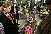 Wiezowski/Ledochowicz family. All Saints Day at cemetery in Lodz, Poland. Olga and her grandmother and her father, Borys.