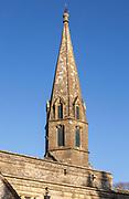 Architectural details unusual spire steeple Church of Saint Andrew, Wanborough, Wiltshire, England, UK