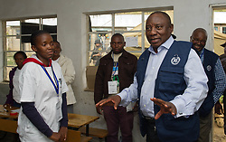 MASERU, Feb. 28, 2015  South African Deputy President Cyril Ramaphosa (R), in his capacity as Southern African Development Community facilitator, visits a voting center in Maseru, capital of Lesotho, on Feb. 28, 2015. Voters in Lesotho went to the polls on Saturday for an early election designed to end a political impasse in the kingdom. (Xinhua/DOC/Ntswe Mokoena) (Credit Image: © Xinhua via ZUMA Wire)