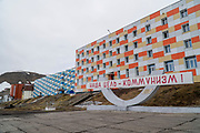 communist memorial Barentsburg a Coal mining town, Russian coal mining settlement in Billefjorden, Spitsbergen, Norway