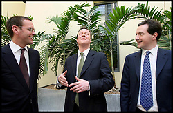 Image ©Licensed to i-Images Picture Agency. 2007 File photo of David Cameron and George Osborne with James Murdoch in central London .Picture Stephen Lock / i-Images