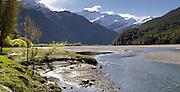 View of the Matukituki River, Mt. Aspiring National Park, near Wanaka, New Zealand.