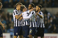 Shaun Cummings of Millwall (2nd r) celebrates with his teammates after scoring his sides 2nd goal . The Emirates FA Cup 3rd round match, Millwall v AFC Bournemouth at The Den in London on Saturday 7th January 2017.<br /> pic by John Patrick Fletcher, Andrew Orchard sports photography.