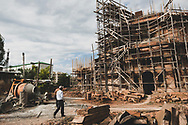 The Holy Mother of God Cathedral (Surb Astvatsamor Hovanu Cathedral), an Armenian Apostolic Church in the city of Stepanakert, Nagorno-Karabakh Republic, nearing the end of 12 years of construction. The Cathedral would be consecrated in 2019, three years after this picture was taken on September 22, 2016.
