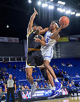 Middle Tennessee Blue Raiders guard Eli Lawrence (5) shoots during the Southern Mississippi Golden Eagles at Middle Tennessee Blue Raiders college basketball game in Murfreesboro, Tennessee, Saturday, March, 7, 2020.<br /> Photo: Harrison McClary/All Tenn Sports