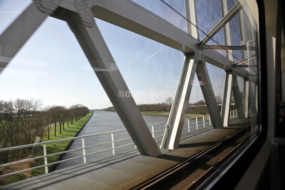 crossing river view from train Holland