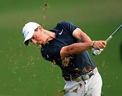 Rory McIlroy follows through on his second shot from the 18th fairway during first-round action of the PGA Championship at Quail Hollow Club on Thursday, Aug. 10, 2017, in Charlotte, N.C. (Photo by Jeff Siner/Charlotte Observer/TNS/Sipa USA)  *** Please Use Credit from Credit Field ***