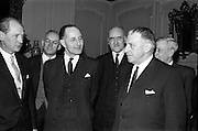 09/02/1965<br /> 02/09/1965<br /> 09 February 1965<br /> Prime Minister of Northern Ireland, Captain Terence O'Neill visits Taoiseach Sean Lemass in Dublin. Picture shows Mr Jack Lynch, Minister for Industry and Commerce; Captain Terence O'Neill; Mr. Frank Aiken Minister for External Affairs and Mr. Sean Lemass after their talks in Dublin at the the Department of External Affairs. DFA