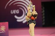 Ella Astvatsatryan, Armenia, during day one of the 33rd European Rhythmic Gymnastics at Papp Laszlo Budapest Sports Arena, Budapest, Hungary on 19 May 2017. Photo by Myriam Cawston.