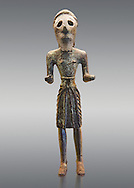 Copper statuettes of warriors with a short loincloth which originally held weapons in their hands, as well as representation of a woman. These acquired in the art trade figures were probably made in the mountains of Lebanon. They are characterised by the rigid body shapes and rough running faces, whose eyes were inserted once. 3rd century BC , Pergamon Museum, Berlin