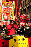 A drummer from New York's Hung Sing Kwoon martial arts and lion dance organization.