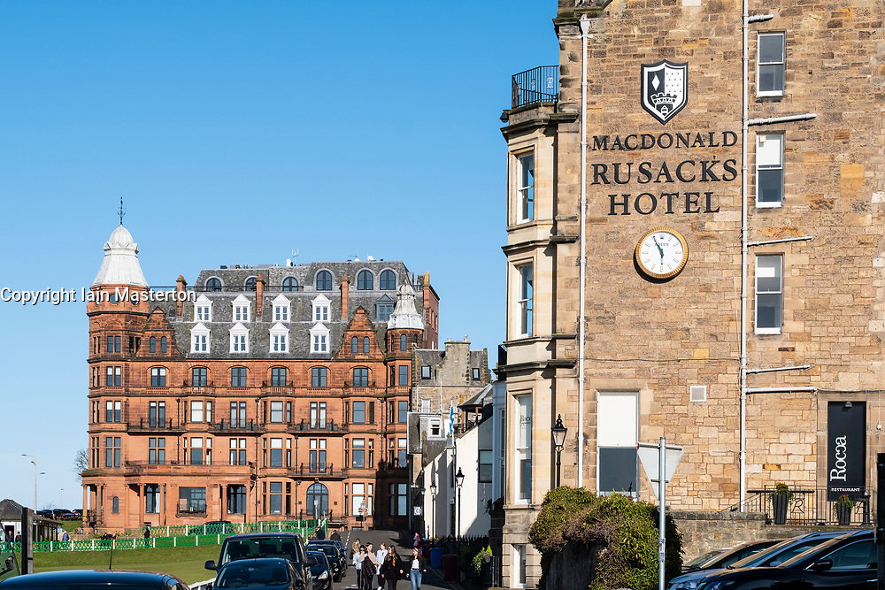 Hamilton Grand luxury apartment building and  Rusacks Hotel beside 18th hole on the and Old Course in St Andrews, Fife, Scotland, UK.