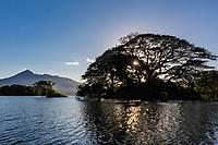 Mombacho Volcano from las isletas de Granada Nicaragua lake at sunset