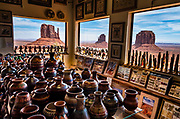 Pottery and dancing figures for sale at Visitor Center & Museum at Monument Valley Navajo Tribal Park, Arizona, USA.
