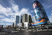 CityCenter shopping development and Harmon Hotel tower on the Las Vegas Strip February 23, 2012 in Paradise, Nevada. The Harmon Hotel was dismantled in 2014 due to construction defects.