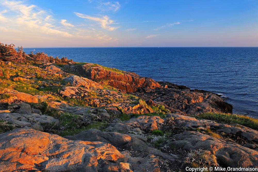 Rocky shoreline st sunrise<br /> Boar's Head on Long Island on the DIgby Neck<br /> Nova Scotia<br /> Canada