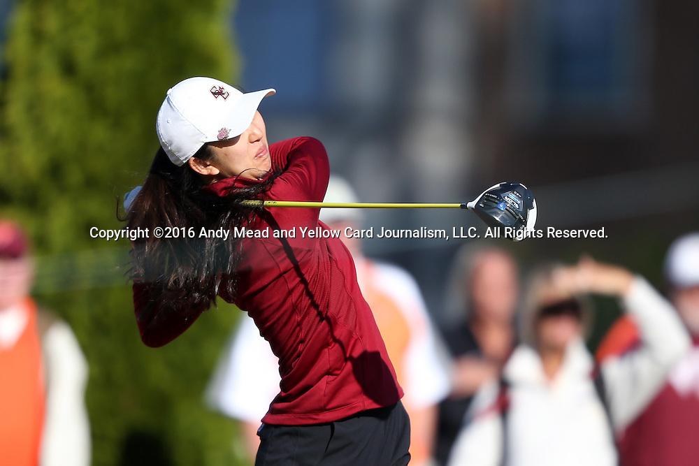 17 April 2016: Boston College's Ailin Li. The Second Round of the Atlantic Coast Conference's Women's Golf Championship was held at Sedgefield Country Club in Greensboro, North Carolina.