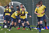 Leeds United players warming up during the U18 Professional Development League match between Coventry City and Leeds United at Alan Higgins Centre, Coventry, United Kingdom on 13 April 2019.
