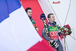 04.12.2016, Val d Isere, FRA, FIS Weltcup Ski Alpin, Val d Isere, Riesen Slalom, Herren, 2. Lauf, im Bild v.l. Mathieu Faivre (FRA, 1. Platz), Alexis Pinturault (FRA, 3. Platz) // f.l. race winner Mathieu Faivre of France, third placed Alexis Pinturault of France during the winner presentation for the men's Giant Slalom of the Val d Isere FIS Ski Alpine World Cup. Val d'Isere, France on 2016/12/04. EXPA Pictures © 2016, PhotoCredit: EXPA/ Johann Groder