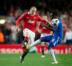 06.04.2011, Stamford Bridge, London, ENG, UEFA CL, Viertelfinale, Hinspiel, Chelsea FC (ENG) vs Manchester United (ENG), im Bild Chelsea's Michael Essien and Manchester United's Wayne Rooney during the UEFA Champions League Quarter-Final 1st leg match at Stamford Bridge, EXPA Pictures © 2011, PhotoCredit: EXPA/ Propaganda/ D. Rawcliffe *** ATTENTION *** UK OUT!