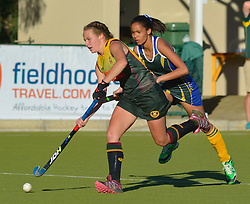 Emma Bekker of HMS Bloemhof and Chemelda Ontong of Eunice during day one of the FNB Private Wealth Super 12 Hockey Tournament held at Oranje Meisieskool in Bloemfontein, South Africa on the 6th August 2016<br /> <br /> Photo by:   Frikkie Kapp / Real Time Images