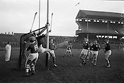 26/02/1967<br /> 02/26/1967<br /> 26 February 1967<br /> Railway Cup Semi-Finals: Leinster v Connacht at Croke Park, Dublin. <br /> T. Neville and a Connacht forward clash at the post as they vie in mid air to get possession of a fast Connacht ball, sent in by P. J. Qualter (Connacht forward). The ball goes wide within inches of the post.