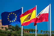 Flags of Spain, European Union and Cantabria in Comillas, Cantabria, Northern Spain