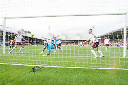 Partick Thistle's Liam Lindsay scoring their goal past Hearts keeper Jack Hamilton. Partick Thistle 1 v 2 Hearts, Ladbrokes Premiership match played 27/89/2016 at Firhill.