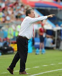SOCHI, June 18, 2018  Head coach Hernan Gomez of Panama reacts during a group G match between Belgium and Panama at the 2018 FIFA World Cup in Sochi, Russia, June 18, 2018. (Credit Image: © Bai Xueqi/Xinhua via ZUMA Wire)