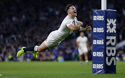 March 11, 2017 - London, England, United Kingdom - England's DANNY CARE scores a try against Scotland during Six Nations Championship at Twickenham Stadium. England wins 61-21 Scotland. (Credit Image: © Henry Browne/Action Images via ZUMA Press)