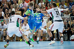 Miha Zarabec during handball game between Man National Teams of Slovenia and Hungary in 2019 Man's World Championship Qualification, on June 9, 2018 in Arena Bonifika, Ljubljana, Slovenia. Photo by Urban Urbanc / Sportida