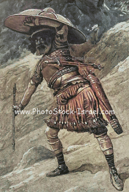 """Machine Colourised (AI) BENJAMIN. Gen. xlix. 27. """"Benjamin shall ravin as a wolf: in the morning he shall devour the prey, and at night he shall divide the spoil."""" From the book ' The Old Testament : three hundred and ninety-six compositions illustrating the Old Testament ' Part I by J. James Tissot Published by M. de Brunoff in Paris, London and New York in 1904"""