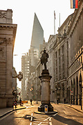 The statue to engineer James Henry Greathead, inventor of the Greathead Shield, on Cornhill in the City of London at 7.30am during the coronavirus pandemic on the 24th April 2020 in London, United Kingdom. The Greathead Shield allowed the construction of the deep level tube lines.