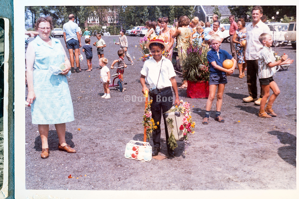 young boy playing immigrant at a country fair in rural Holland ca 1960s