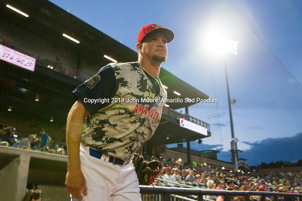 Amarillo Sod Poodles pitcher Michel Baez (31) takes the field against the Frisco Rough Riders on Monday, June 3, 2019, at HODGETOWN in Amarillo, Texas. [Photo by John Moore/Amarillo Sod Poodles]