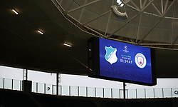 The scoreboard with a countdown to kick off