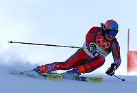 Photo: Catrine Gapper.<br />Winter Olympics, Turin 2006. Alpine Skiing Mens Giant Slalom. 20/02/2006. Rainer Schoenfelder of Austria finishes in eight place in Men s Giant Slalom.