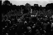 Funeral of Eamon DeValera.   (J72)..1975..02.09.1975..09.02.1975..2nd September 1975..Today saw the funeral of Eamon DeValera. He was laid to rest beside his wife Sinead in Glasnevin Cemetery,Dublin. Dignitries from all around the world attended at the funeral...A general view of the cemetery showing the massive crowd.