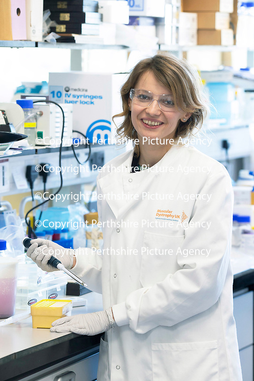 Muscular Dystrophy UK visit to the Biomedical Sciences Research Complex, St Andrews University…<br />Pictured Dr Monika Magon<br />Picture by Graeme Hart.<br />Copyright Perthshire Picture Agency<br />Tel: 01738 623350  Mobile: 07990 594431