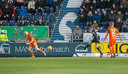 Falkirk's Louis Longridge scoring their third goal. Falkirk 6 v 1 Dundee United, Scottish Championship game played 6/1/2018 played at The Falkirk Stadium.
