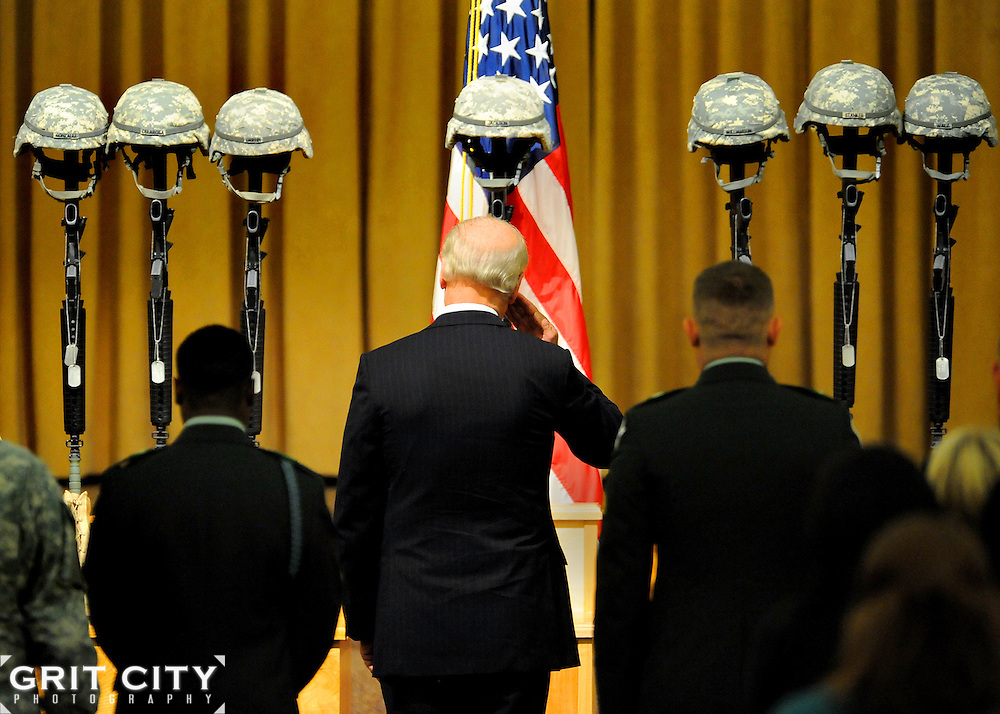 Vice President Joe Biden salutes seven Soldiers who were memorialized during a ceremony at North Fort Chapel Nov. 10. Staff Sgt. Luis M. Gonzalez, of South Ozone Park, N.Y.; Sgt. Fernando Delarosa, of Alamo, Texas; Sgt. Dale R. Griffin, of Terre Haute, Ind.; Sgt. Issac B. Jackson, of Plattsburg, Mo.; Sgt. Patrick O. Williamson, of Broussard, La.; Spc. Jared D. Stanker, of Evergreen Park, Ill., and Pfc. Ian Walz, 25, of Vancouver, Wash., all with 1-17 Inf., 5th Bde., 2nd Inf. Div., were killed when an IED destroyed their Stryker vehicle in Afghanistan Oct. 27.