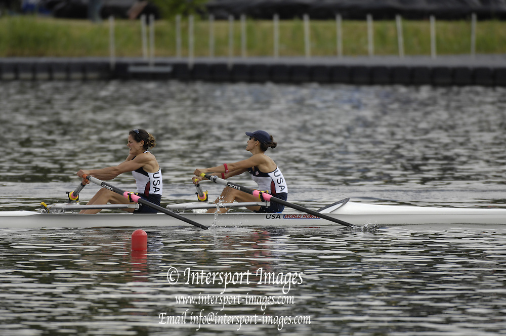 Poznan, POLAND, USA LW2X, Bow, Renee HYKELL and Jen GOLDSACK, secure Olympic selection for the 2008 Beijing Olympics by winning the silver medal the  lightweight women's double sculls,  at the 2008 Olympic Qualification  Rowing Regatta. Malta Rowing Course on Wednesday, 18/06/2008. [Mandatory Credit:  Peter SPURRIER / Intersport Images] Rowing Course:Malta Rowing Course, Poznan, POLAND