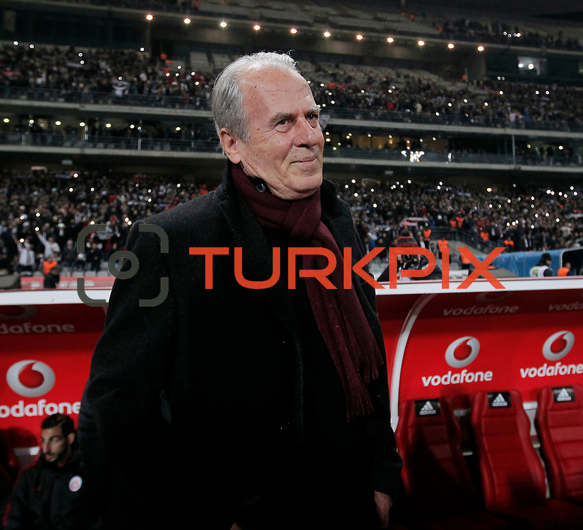 Galatasaray's  headcoach Mustafa Denizli during their Turkish Super League soccer derby match Besiktas between Galatasaray at the Ataturk Olimpiyat stadium in Istanbul Turkey on Monday, 14 December 2015. Photo by Aykut AKICI/TURKPIX