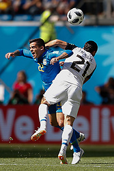 June 22, 2018 - SãO Petersburgo, Rússia - SÃO PETERSBURGO, MO - 22.06.2018: BRAZIL VS. COSTA RICA - Fagner do Brasil fights with Costa Rica's Marcre Urena during a match between Brazil and Costa Rica for the se round of Group E of the 2018 World Cup heldheld at the Krestovsky Stadium in St Petersburg, Russia. (Credit Image: © Marcelo Machado De Melo/Fotoarena via ZUMA Press)