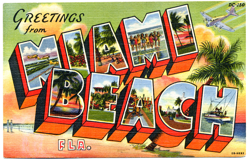 """An iconic, so-called large-letter, """"Greetings from Miami Beach"""" postcard with a World War II spin -- there's a B-17 bomber at upper right, and two men in uniform at lower left.<br /> <br /> Military planes occuply the first letter M, while all the other letters feature traditional peacetime postcard fare: bathing beauties, palm trees silhouetted at sunset, a fishing boat, and so on.<br /> <br /> Beginning in 1942, much of Miami Beach was made into a military training camp with the U.S. Army Air Corps commandeering  188 hotels and 109 apartment houses as barracks, while a local golf course turned into a drill field, and a section of beach in Bal Harbour became a rifle range.<br /> <br /> Thousands of officers and enlisted men were trained in Miami Beach until the war ended in 1945."""