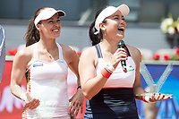 Taiwanese Chan Yung-jan and Swiss Martina Hingis during Mutua Madrid Open Sub16 Tennis 2017 at Caja Magica in Madrid, May 13, 2017. Spain.<br /> (ALTERPHOTOS/BorjaB.Hojas)