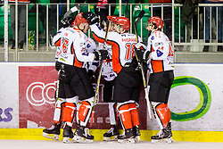 Players celebrate during Hockey match between SZ HD Olimpija and HDD Jesenice in 4tht match of Quarterfinals of Alps Hockey League, on March 13, 2018 in Hala Tivoli, Ljubljana, Slovenia. Photo by Ziga Zupan / Sportida